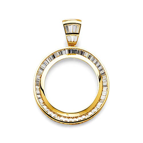 Mia Diamonds 14k Yellow-Gold Baguette (CZ) Cubic-Zirconia Frame Pendant For 50 Pesos Coin (65mm x 50mm)