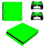 Chickwin PS4 Slim Vinyl Skin Full Body Cover Sticker Decal For Sony Playstation 4 Slim Console & 2 Dualshock Controller Skins (Only Green)