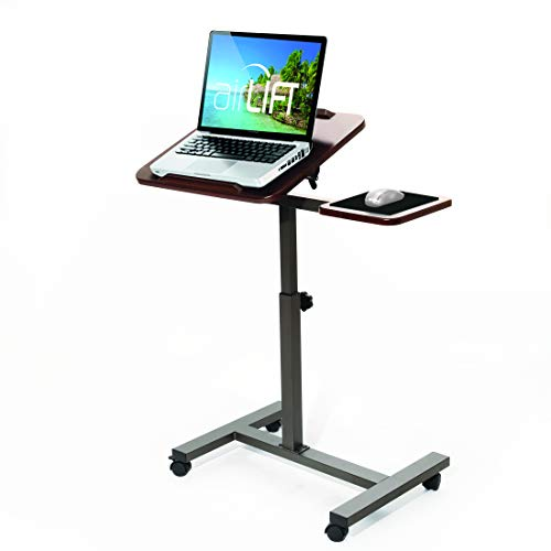 Seville Classics Tilting Sit-Stand Computer Desk Cart with Mouse Pad Table, Height-Adjustable from 27.5' to 40' H, Walnut