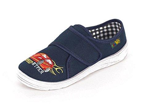 Yaro - Zapatillas de estar por casa de algodón para niño Azul azul Azul - dunkelblau/weiss/Auto