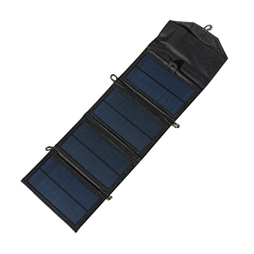 Dreamyth Portable Solar Charger For iPhone/Mobile Phone+7W Solar Panel+Foldable USB Battery Charger Wallet Durable (Black) ()