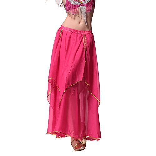 Belly Dance Skirt 4-Pieces Gold Trim Skirt Dancing Dress Chiffon Belly Dance Costume dark pink (Dark Dance Costumes)