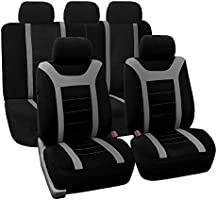 FH Group Sports Seat Covers Airbag Compatible and Rear Split Full Set Grey