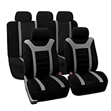 FH Group Universal Fit Full Set Sports Fabric Car Seat Cover with Airbag & Split Ready, (Gray/Black) (FH-FB070115, Fit Most Car, Truck, Suv, or Van)