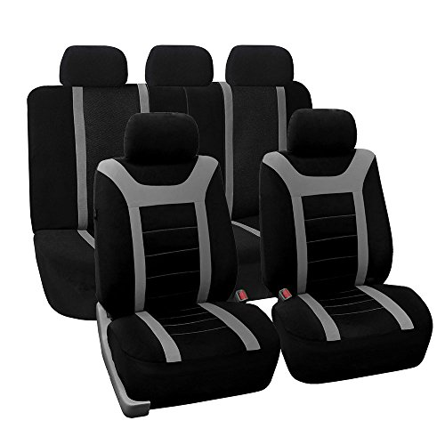 Fh Group Universal Fit Full Set Sports Fabric Car Seat Cover With Airbag Split Ready Gray Black Fh Fb070115 Fit Most Car Truck Suv Or Van
