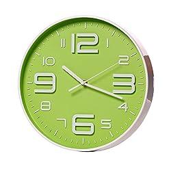 SonYo Indoor Big 3D Number Quartz Wall Clock Quiet Sweep Movement 12 Inch Green