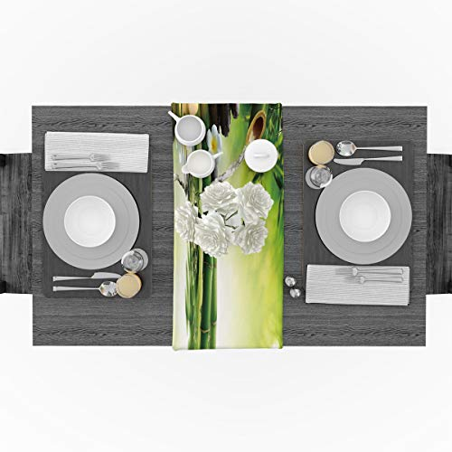 Polyester Fabric Spa Decor Natural Rectangle Lace Table Runners Zen Garden Theme Jasmine Flower Bamboos, 14x72inch by Beauty Decor (Image #2)
