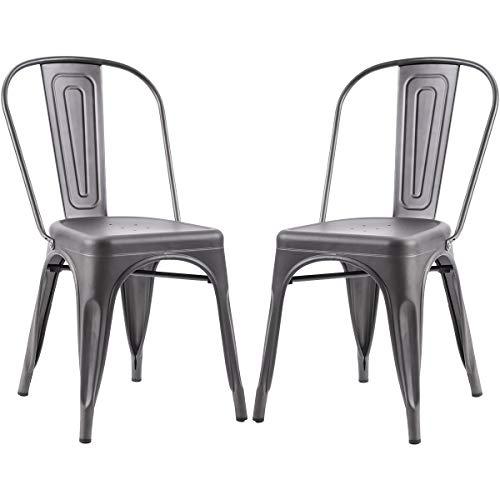 Merax Metal Dining Chair, Grey