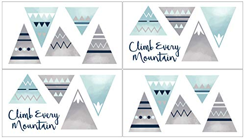 (Sweet Jojo Designs Navy Blue, Aqua and Grey Aztec Wall Decal Stickers for Mountains Collection - Set of 4 Sheets)