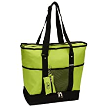 Everest Luggage Deluxe Shopping Tote, Lime/Black, One Size