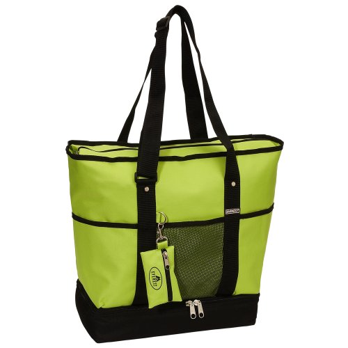 Everest Luggage Deluxe Shopping Tote, Lime/Black, Lime/Black, One Size (Lime Green Book Bags)