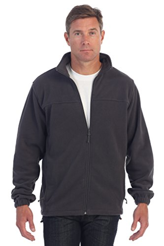 Gioberti Mens Full Zip Polar Fleece Jacket, Heather Charcoal, XX-Large - Mens Polar Fleece