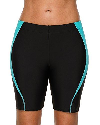 V for City Womens Long Boardshorts UPF UV Protection Surf Swimwear Bottoms Black and Navy ()