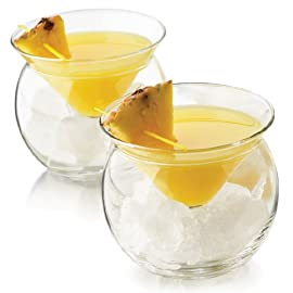 """World's Coldest"" 2-Part Martini Chiller (Gift Box Set of 2) 4 2-piece, innovative design maintains constant temperature of contents Conical glass fits atop a balloon-shaped bowl that gets filled with cracked ice Holds 5.75 ounces, perfect for service of Martinis, caviar, shrimp cocktails, or frozen desserts"