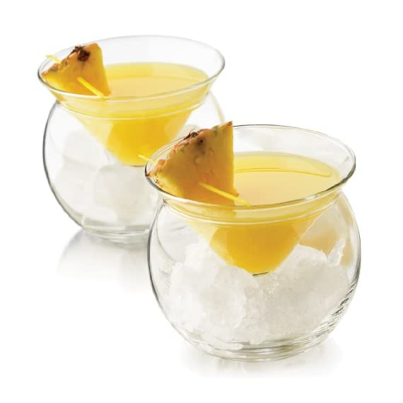 """World's Coldest"" 2-Part Martini Chiller (Gift Box Set of 2) 1 2-piece, innovative design maintains constant temperature of contents Conical glass fits atop a balloon-shaped bowl that gets filled with cracked ice Holds 5.75 ounces, perfect for service of Martinis, caviar, shrimp cocktails, or frozen desserts"