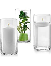 Set of 3 Glass Cylinder Vases 8 Inch Tall - Multi-use: Pillar Candle, Floating Candles Holders or Flower Vase – Perfect as a Wedding Centerpieces.