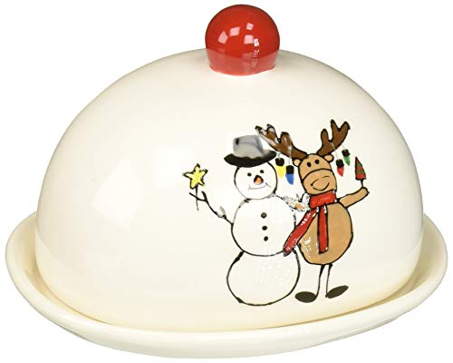 Pavilion Gift Company 81556 Pavilion - Christmas Hugging Snowman & Moose Dolomite Ceramic 4 Inch Single Stick Red Butter Dish 6.25 L x 5.25 W x 4.5 H Multicolored