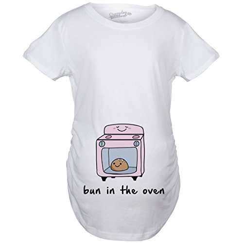 Maternity Bun In The Oven T-Shirt Cute Funny Graphic Pregnancy Tee L