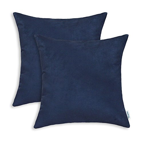 Pack of 2, CaliTime Cushion Covers Throw Pillow Cases Shellss, Super Comfortable Faux Suede Both Sides, 18 X 18 Inche, Navy (Navy Blue Toss Pillow)