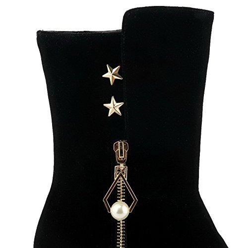 Tacco Cerniera Puro Con Stivali Nero Donna Altezza Rivetto Medio Bassa Voguezone009 5YwXaxq7n