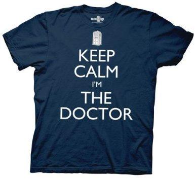 Doctor Who Keep Calm I'm The Doctor Mens T-shirt (Medium, Navy Blue)