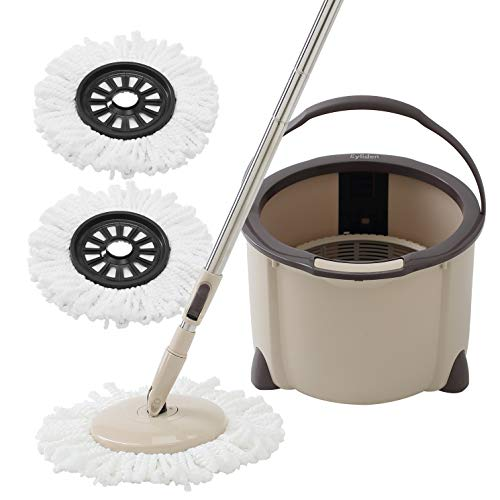 Ey.liden Spin Mop Bucket System Microfiber Spinning Mop with 2 Microfiber Mop Heads Rotating 360 Degree and Adjustable Handle for Home Bedroom Kitchen Office Cleaning