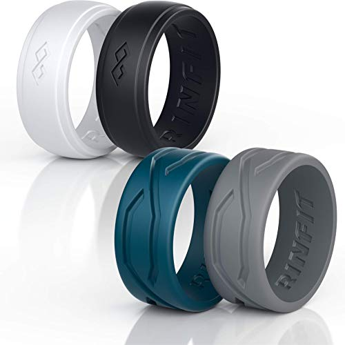 Silicone Wedding Rings for Men - 4 Rings Pack Designed Medical Grade Silicone Rubber Ring - Mix Collection (Size 8, Men's Rings Mix) ()