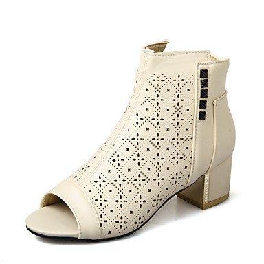 La mujer Primavera Verano botas de piel sintética de Gladiador vestir casual Chunky talón Zipper Blue REd negro beige Black