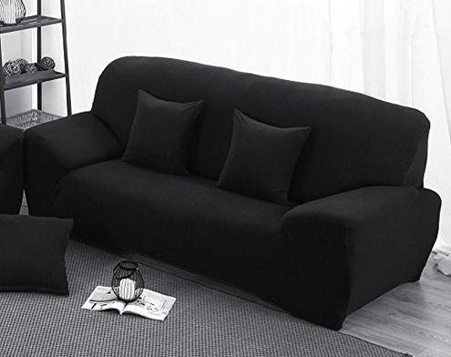 Black High Elasticity Fabric Sofa Slipcover Couch Cover ProtectorTwo-Seater 57-73 Inch - Fabric Two Seater