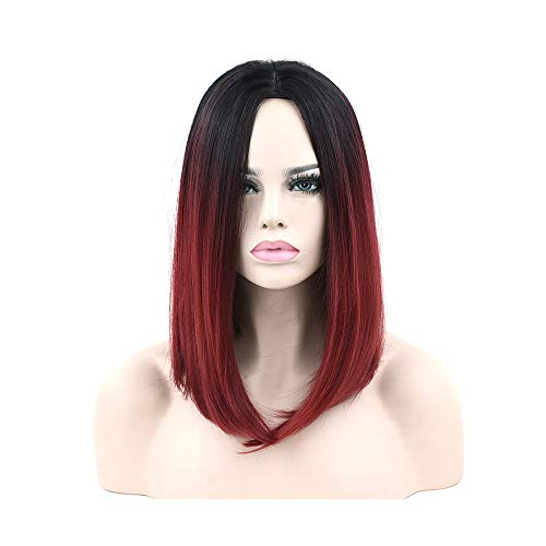 Synthetic Hair Black to Burgundy Ombre Hair Short Bob Costume Wigs Straight Party Hair Grey Cosplay Wig for Women ()