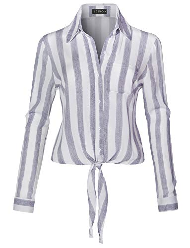 LE3NO Womens Long Sleeve Button Down Striped Crinkled Self Tie Blouse Shirt,Blue,Medium