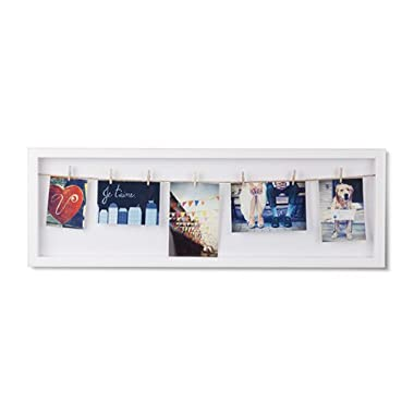 Umbra Clothesline Flip Photo Display, Umbra Photo Display, Picture Hanging Wire/Clothespin Photo Display, White