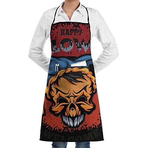 Happy Halloween 2018,Kitchen Chef Apron with Big Pockets - Chef Apron for Cooking,Baking,Crafting,Gardening and BBQ Unisex Chef's Aprons Deluxe
