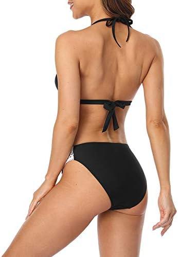 beautyin Women's Crochet Lace Bikini Two Piece Triangle Swimsuit Bathing Suits