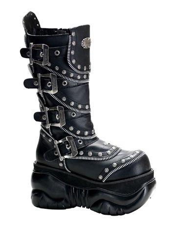 Black Gothic Zipper Platform Boot - 7 - Demonia Gothic Boots