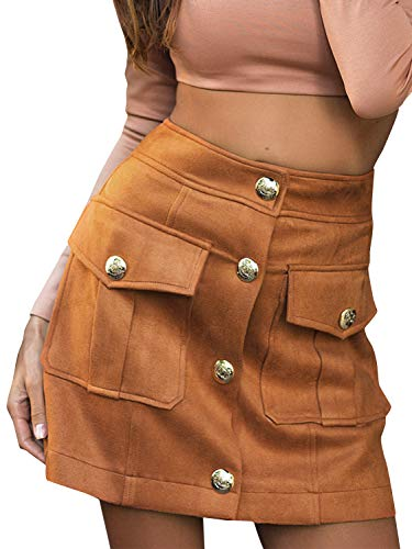 Fashiomo Women's Faux Suede Leather Mini Skirt High Wiast A Line Short Skirt Camel,M ()