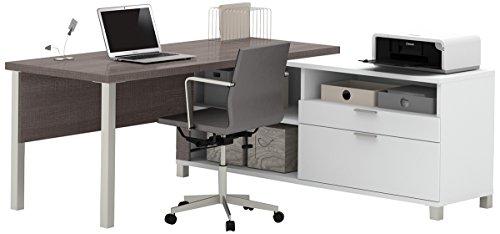 Pro-Linea L-Desk by Bestar White/Bark Grey
