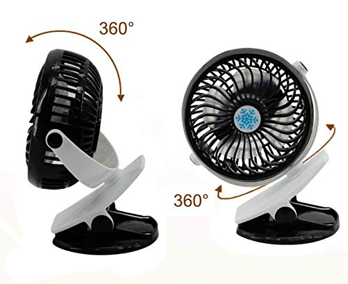 Angoo Beauty Stroller Fans Mini USB Desk Clip Fan, 360° Rotation 800mah Battery Quiet Fan for Outdoor/Indoor Baby Car Travel Office Camping Library (Black) by Angoo Beauty