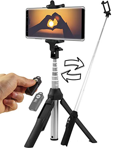Bluetooth Selfie Stick Tripod - Compatible with All Smartphones - Wireless Remote Extendable Stand for iPhone X 6 7 8 / 6Plus, 7Plus 8Plus, Samsung Galaxy S6 S7 S8 S9 ()