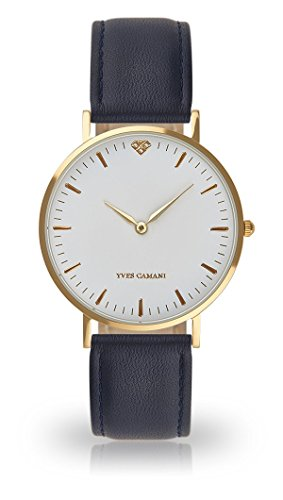 YVES CAMANI Amelie Women's Wrist Watch Quartz Analog Dark Blue Leather Strap White Dial YC1097-B-742