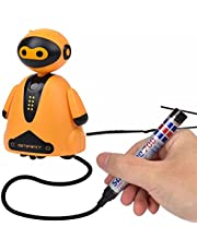 Smart Pen Tracing Robot, Mini Light Drawing Robot, Fun and Developing Toy Coding Robot for Kids, Light Sensor Automatic Road Recognition Robotics, Child Study Toy Gift