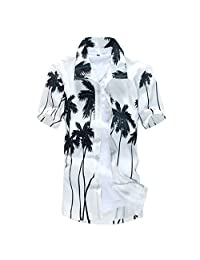 Corriee Mens T Shirts Graphic Short Sleeve Button Down Hawaii Shirt Big and Tall Male Summer Casual Tops