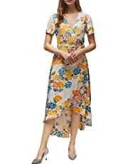 FanXinXing Womens Maxi Dress Tie-Waist Wrap V Neck Floral Flowy Front Slit High Low Short Sleeve Summer Beach Dress