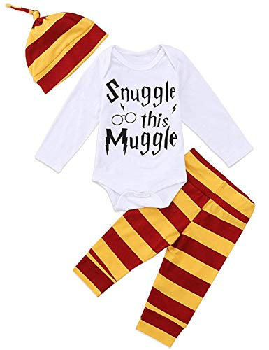 3Pcs/Set Infant Baby Boys Girls Snuggle This Muggle Rompers+Striped Pants+Hat Take Home Outfits (3-6 -