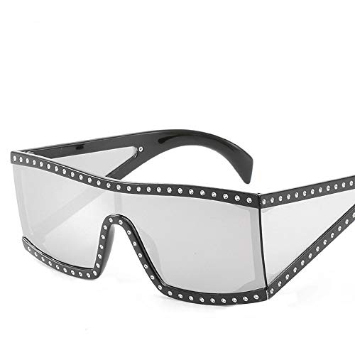 (Classic One-Piece Sunglasses Women Big Framed Sunglasses with Diamond Sunglasses Beautyfine)