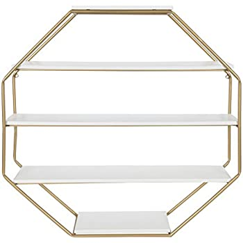 Kate And Laurel Lintz Large Octagon Floating Wall Shelves With Metal Frame Gold White