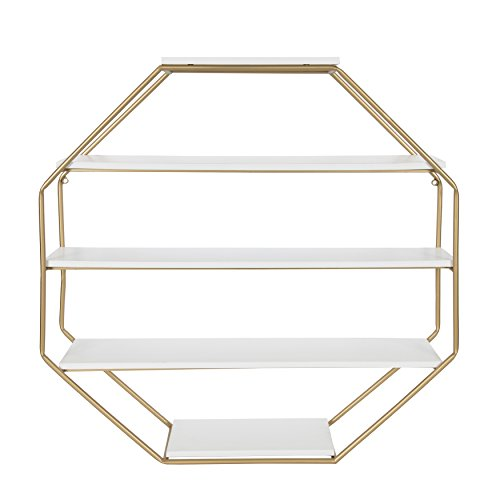 (Kate and Laurel Lintz Octagon Floating Wall Shelves with Metal Frame, White/Gold)