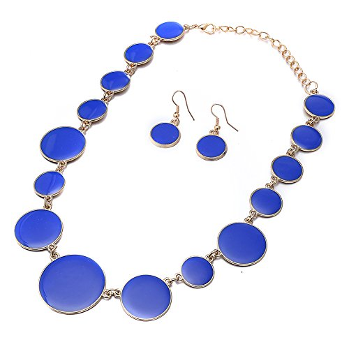 DiLiCa Women Statement Bib Necklace and Earring Set Girl Charm Costume Choker Novelty Enamel Jewelry Set Blue (Blue)