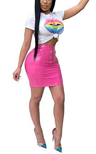 eather Two Pieces Short Sleeve Crop Top and Bodycon Shiny Mini Skirt Dress Set Pink X-Large ()