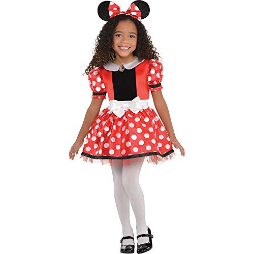 Costumes USA Red Minnie Mouse Costume for Girls, Size Small, Includes a Polka Dot Dress and Headband with Ears and Bow
